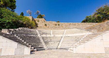 teatro antico: Ancient Theatre on Rhodes Archivio Fotografico