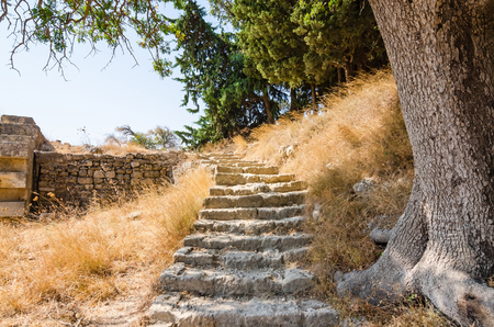 rhodes: Stairs to Apollo temple ruins on Rhodes Stock Photo