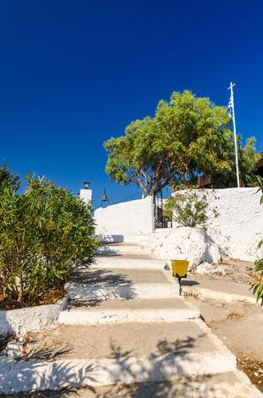 tsampika: Stairs to Tsambika mountain monastery Stock Photo