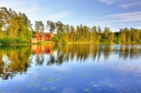 beautiful lake: The lake house Stock Photo