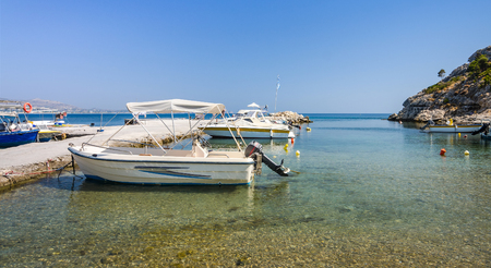 motorboats: Small motorboats in Greek harbor