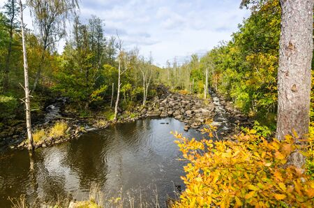 lax: Morrum river Kings cascades in autumn color