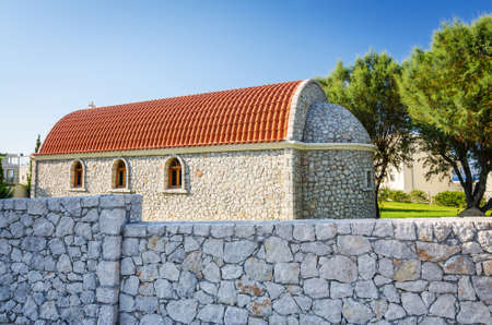 rhodes: Rhodes small church with stony landmark