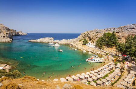 lindos: Sunny sea beach in Lindos
