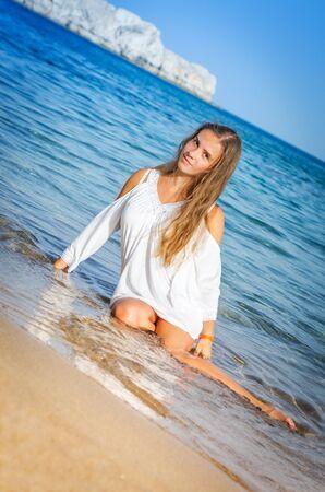 sensitive: Portrait of sensitive girl in tropical sea