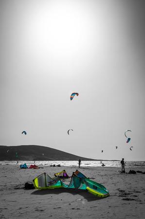 kite surfing: Kite surfing beach on Rhodes