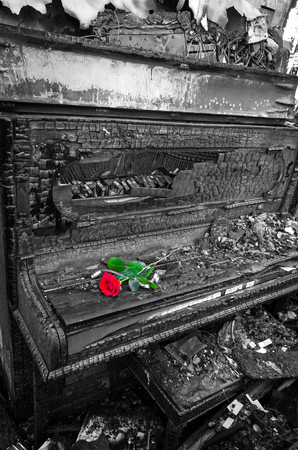 burnt: Burnt piano Stock Photo