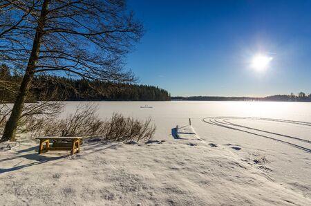 sweden in winter: Winter lake scenery in Sweden