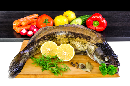 walleye: Whole walleye fish with vegetables Stock Photo