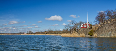 swedish: Spring panorama landscape for Swedish shore Stock Photo