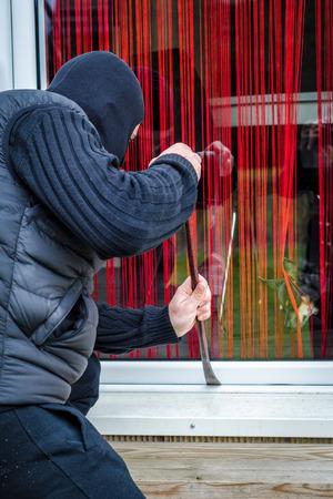 delincuencia: Peque�o perro de la casa que guarda Foto de archivo