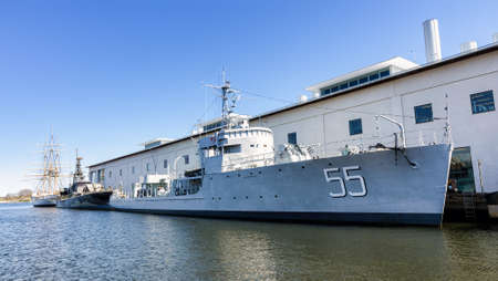 hms: KARLSKRONA, SWEDEN - MAY 07, 2016: HMS Bremon (55), (1940-1966) Swedish minesweeper from world war 2, now moored as a museum ship outside the maritime museum in town. Editorial