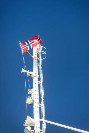 mast: Norwegian ferry flag mast