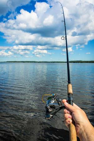 swedish: Fishing in Swedish lake Stock Photo