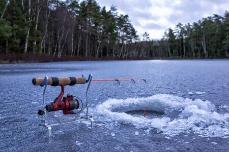 Float ice fishing scenery