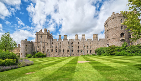 Summer view for castle side towers in Medieval Windsor Castle