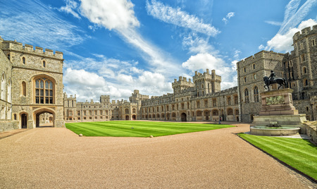 WINDSOR, ENGLAND - JULY 10, 2016: View of Upper Ward (Quadrangle) in Medieval Windsor Castle. Windsor Castle is a royal residence at Windsor in the English county of Berkshire, built in 1066 year Éditoriale