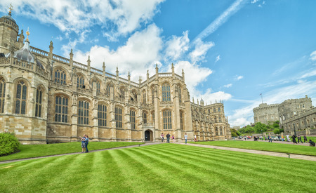 WINDSOR, ENGLAND - JULY 10, 2016 : St. George Chapel at Windsor Castle on July 10, 2011 in Windsor, England. Chapel was built in 14th century and its placed on the Windsor castle area.