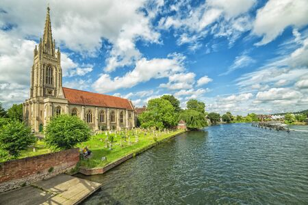 Marlow summer scennery with church on the river side Stock Photo