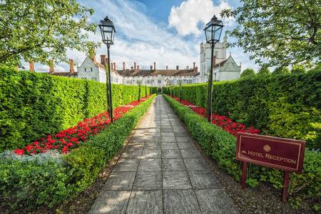 DANSFIELD HOUSE - UK - JULY 10, 2016: Entryway to Dasfield House hotel & spa resort. Dansfield House was purchased and developed in 1664 by Edmund Medlycott. Since 1991 year property became a hotel.
