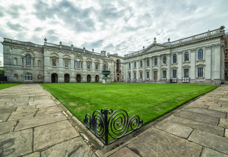 CAMBRIDGE, UNITED KINGDOM - JULY 11, 2016: Senate House in cloudy summer scenery. The building was designed by architect James Gibbs, now used for the degree ceremonies of the University of Cambridge. Editorial