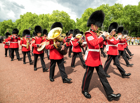 LONDON, UK - 13 JULY, 2016: Soldier orchestra under changing of the guard ceremony at Buckingham Palace, London, United Kingdom.