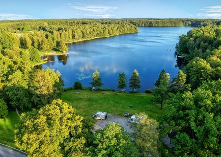 Aerial view for Swedish summer lake