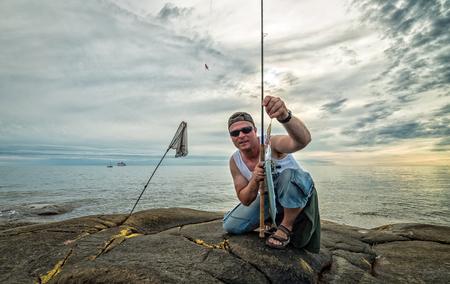 Summer fishing after garfish Stock Photo