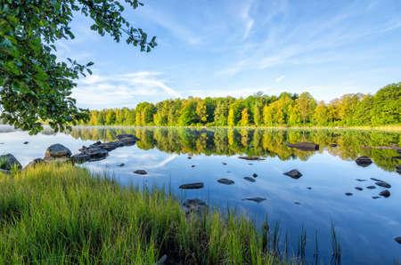 Silent Swedish lake scenery in September Stock Photo
