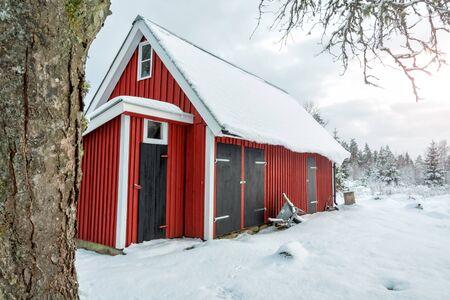 Swedish workshop in winter scenery