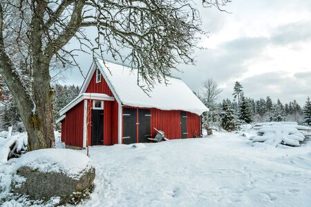 Swedish workhouse in winter scenery