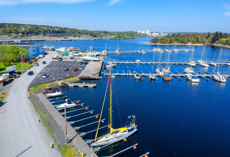 Spring aerial view over Swedish harbor