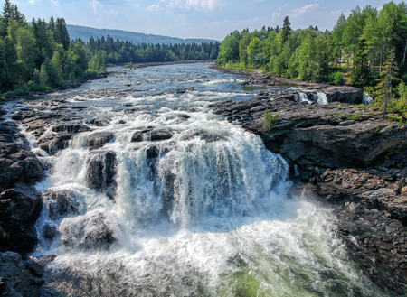 Ristafallet from the air - Swedish mountain waterfall