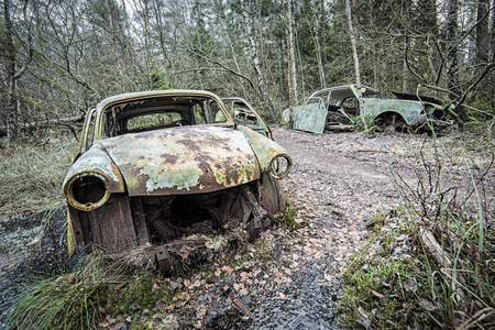 Old cars cemetery in forest