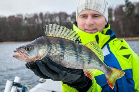 Huge perch caught in winter season Banco de Imagens
