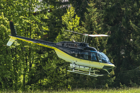 medow: Helicopter over the meadows in Donovaly Stock Photo