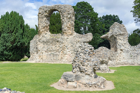 gothic revival: The Abbey Gardens Ruins in Bury St Edmunds, UK Stock Photo