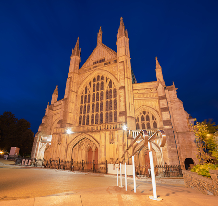 winchester: Winchester Cathedral at night on a warm summers evening