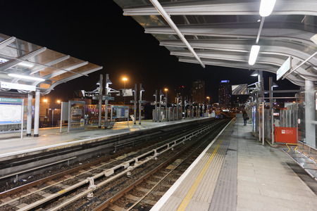 A docklands light railway station in East London