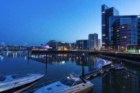 Early nightfall at Ocean Village Marina in Southampton, UK