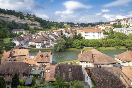The Medieval City of Fribourg in central Switzerland 免版税图像