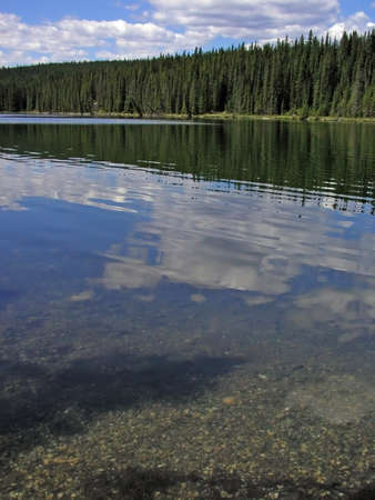 reflect: Clouds reflect in a serene forest line alpine lake   Stock Photo