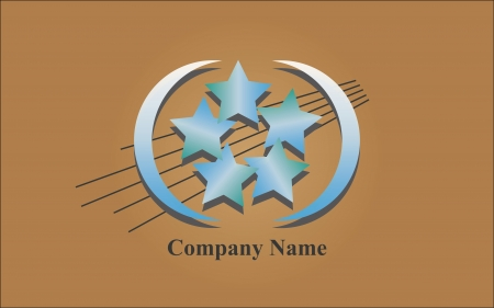 globally: Extending blue logo with stars on brown background Extending blue logo with stars on brown background