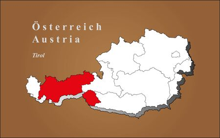 tirol: Austria map in 3D highlights on brown background Tirol Austria map in 3D on brown background highlighted Tyrol