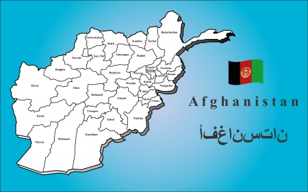 A map of Afghanistan with all provinces  Gray shaded and with flag  Vector