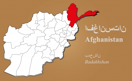 cantonese: Afghan map in 3D on brown background  Badakhshan highlighted  Illustration