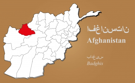 cantonese: Afghan map in 3D on brown background  Badghis highlighted