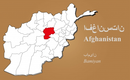 afghan: Afghan map in 3D on brown background  Bamiyan highlighted
