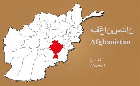 afghane: Afghan Karte in 3D auf braunem Hintergrund hervorgehoben Ghazni Illustration