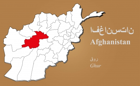 cantonese: Afghan map in 3D on brown background  Ghur highlighted